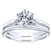 Load image into Gallery viewer, Gabriel Bridal Collection White Gold Solitaire Diamond Engagement Ring with Rounded Shank (0.03 ctw)