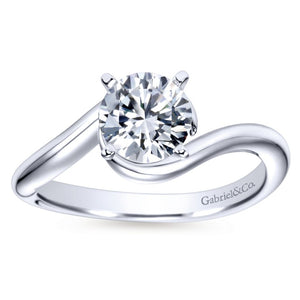 Gabriel Bridal Collection White Gold Round Bypass Engagement Ring (0 ctw)