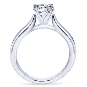 Gabriel Bridal Collection White Gold Solitaire Diamond Engagement Ring with Rounded Shank (0 ctw)
