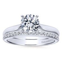 Load image into Gallery viewer, Gabriel Bridal Collection White Gold Solitaire Diamond Engagement Ring with Rounded Shank (0 ctw)