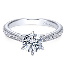 Load image into Gallery viewer, Gabriel Bridal Collection White Gold Diamond Straight Channel and Milgrain Engagement Ring (0.25 ctw)