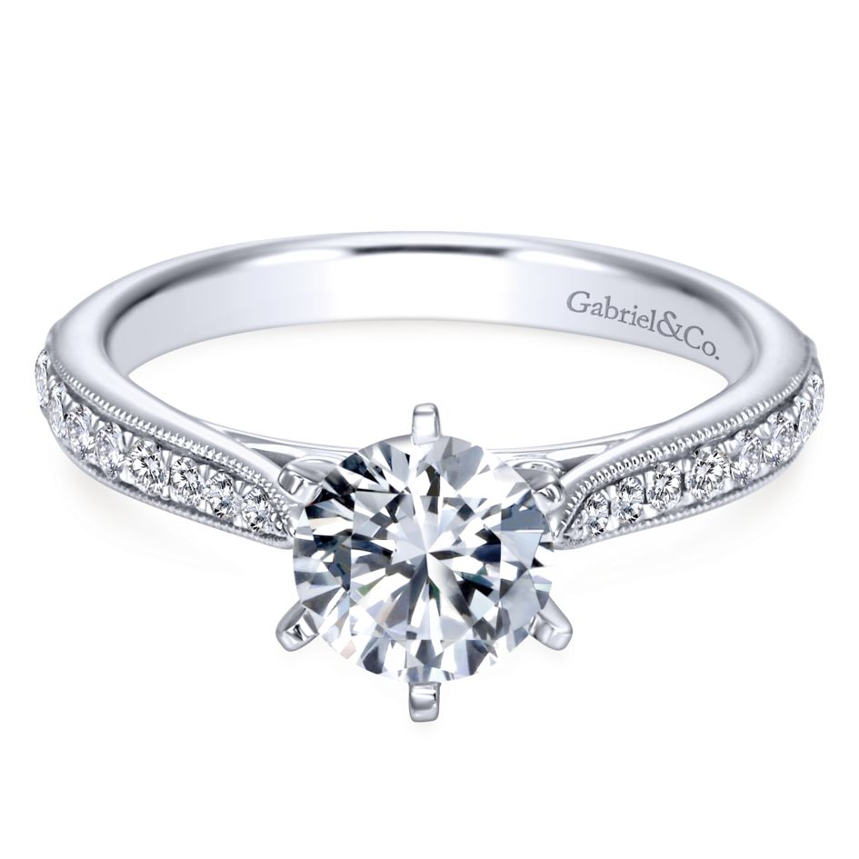 Gabriel Bridal Collection White Gold Diamond Straight Channel and Milgrain Engagement Ring (0.25 ctw)