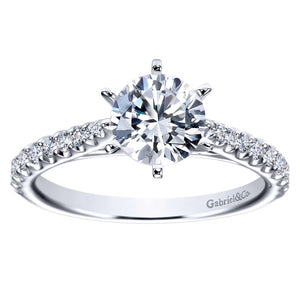 Gabriel Bridal Collection White Gold Straight Engagement Ring (0.36 ctw)
