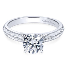 Load image into Gallery viewer, Gabriel Bridal Collection White Gold Straight Engagement Ring with Hand Etching and Milgrain Detailing (0 ctw)