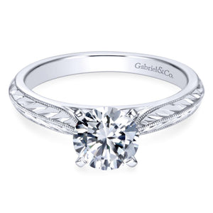 Gabriel Bridal Collection White Gold Straight Engagement Ring with Hand Etching and Milgrain Detailing (0 ctw)
