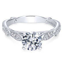 Load image into Gallery viewer, Gabriel Bridal Collection White Gold Diamond Straight Victorian Engagement Ring (0.38 ctw)