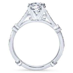 Gabriel Bridal Collection White Gold Diamond Straight Victorian Engagement Ring (0.38 ctw)