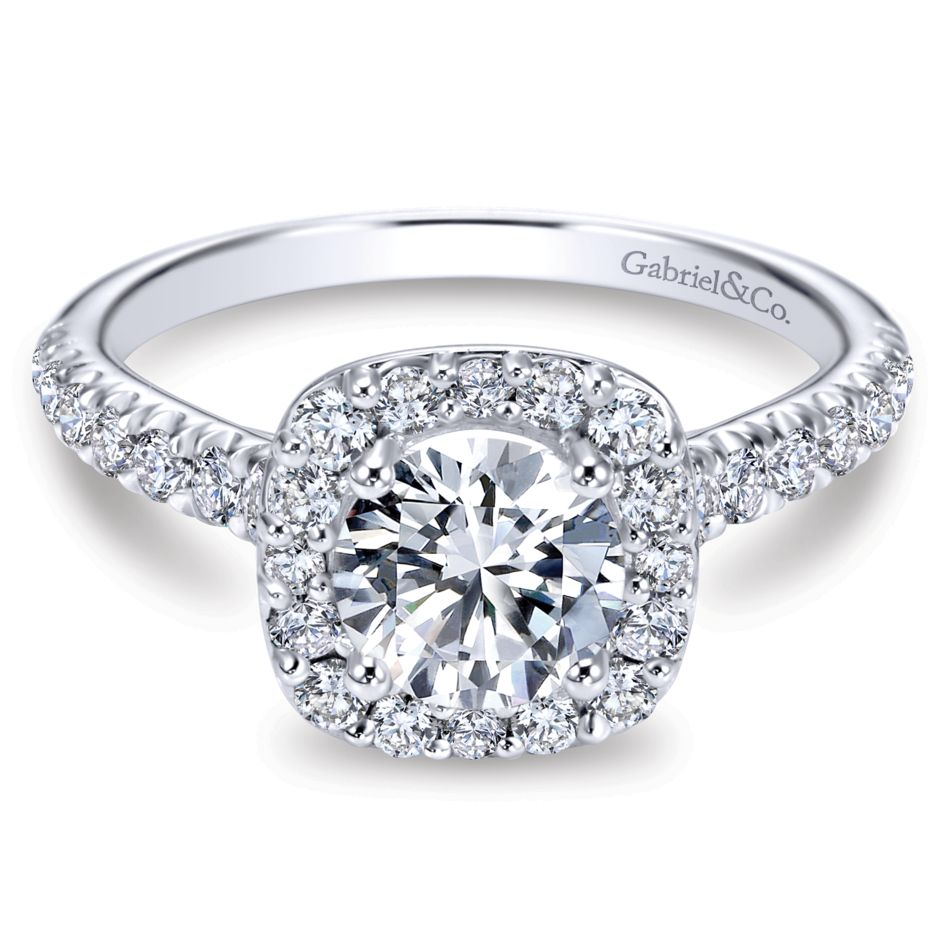 Gabriel Collection White Gold Diamond Round Halo Engagement Ring with Diamond Accent Shank (0.55 ctw)