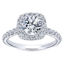 Load image into Gallery viewer, Gabriel Collection White Gold Diamond Round Halo Engagement Ring with Diamond Accent Shank (0.55 ctw)