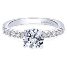 Load image into Gallery viewer, Gabriel Bridal Collection White Gold Diamond Straight Shared Prong Engagement Ring with Peg Head Setting (0.36 ctw)
