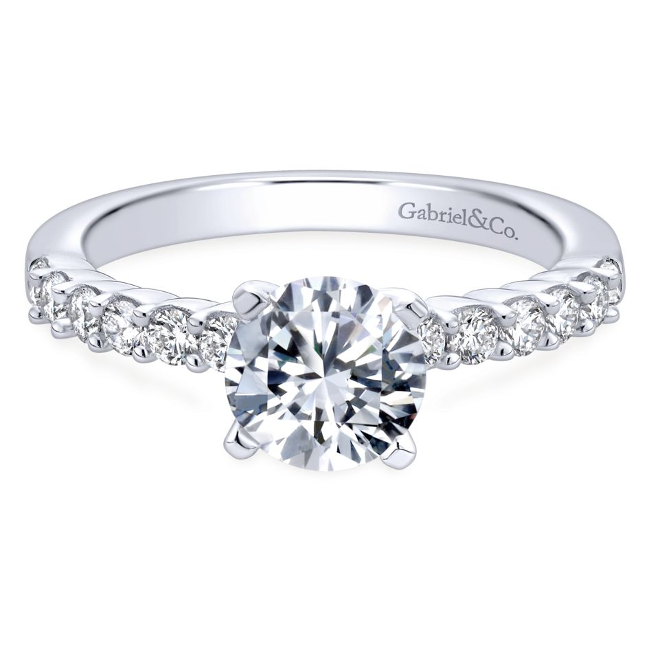 Gabriel Bridal Collection White Gold Diamond Straight Shared Prong Engagement Ring with Peg Head Setting (0.36 ctw)