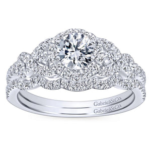 Gabriel Bridal Collection White Gold Diamond Halo Slight Twisted Shank Engagement Ring (0.44 ctw)