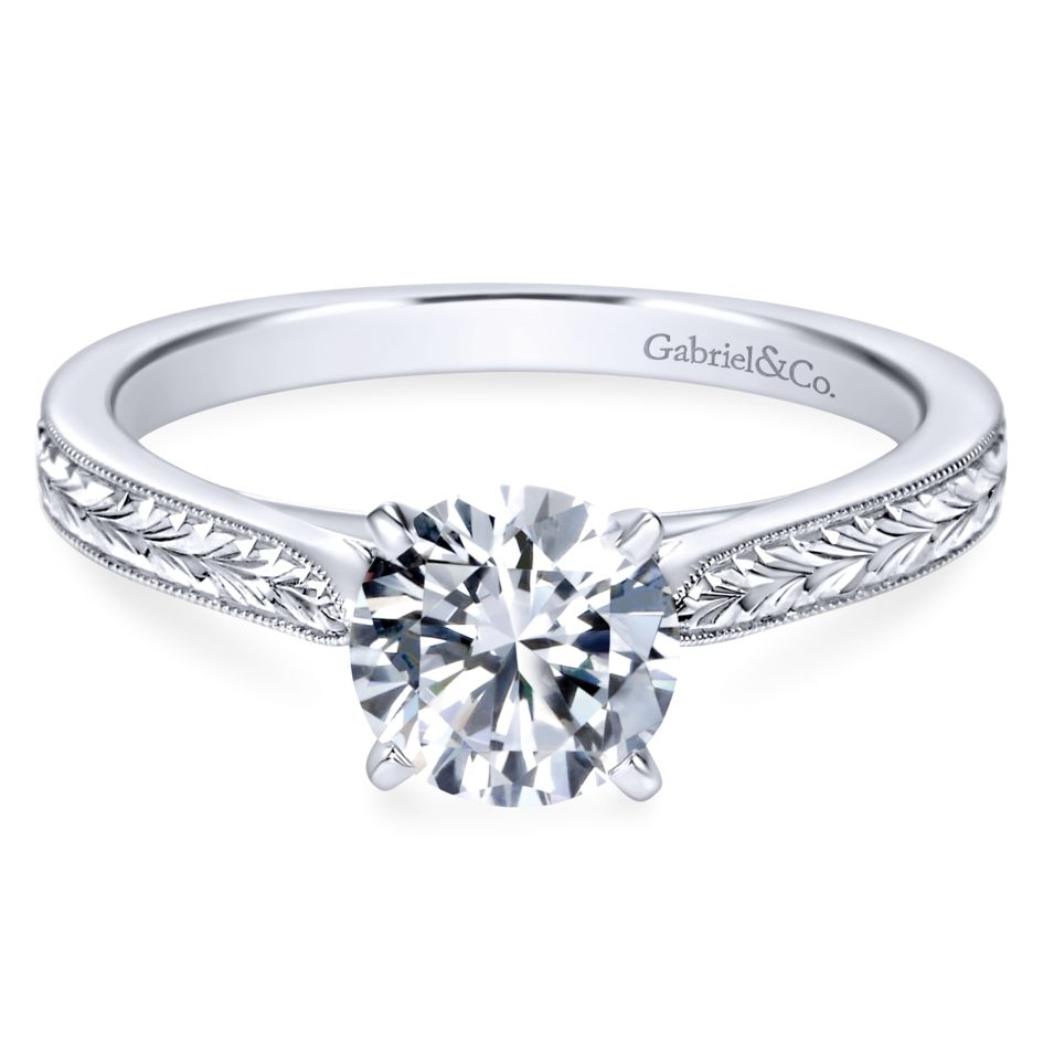 Gabriel Bridal Collection White Gold Straight Milgrain and Hand Etched Engagement Ring (0 ctw)