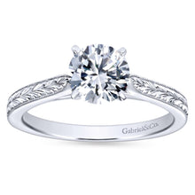Load image into Gallery viewer, Gabriel Bridal Collection White Gold Straight Milgrain and Hand Etched Engagement Ring (0 ctw)