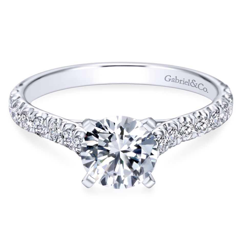 Gabriel Bridal Collection White Gold Diamond Straight Engagement Ring with Bold Diamond Accent Shank (0.54 ctw)