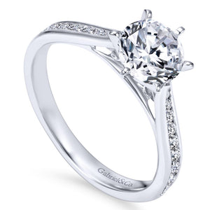 Gabriel Bridal Collection White Gold Diamond Straight Engagement Ring with Channel Setting (0.33 ctw)