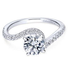 Load image into Gallery viewer, Gabriel Bridal Collection White Gold Diamond French Diamond Accent Bypass Engagement Ring (0.3 ctw)