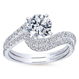 Gabriel Bridal Collection White Gold Diamond French Diamond Accent Bypass Engagement Ring (0.3 ctw)