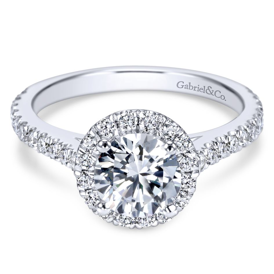 Gabriel Bridal Collection White Gold Halo Engagement Ring (0.65 ctw)