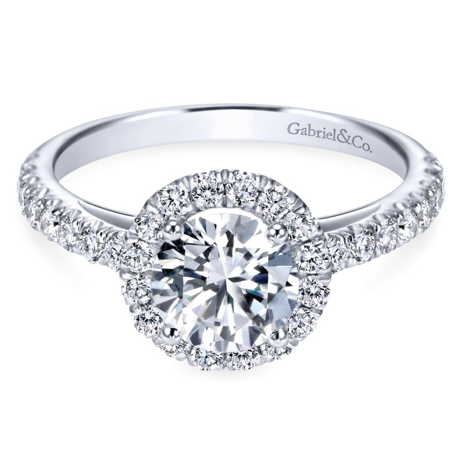 Gabriel Bridal Collection White Gold Round Diamond Halo Engagement Ring with Diamond Accent Shank (0.57 ctw)