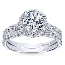 Load image into Gallery viewer, Gabriel Bridal Collection White Gold Round Diamond Halo Engagement Ring with Diamond Accent Shank (0.57 ctw)