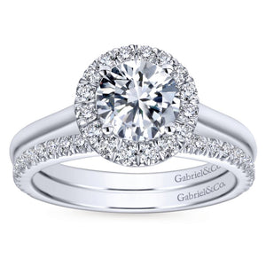 Gabriel Bridal Collection White Gold Diamond Diamond Accent Halo Rounded Shank Engagement Ring (0.28 ctw)