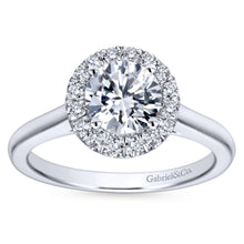 Load image into Gallery viewer, Gabriel Bridal Collection White Gold Diamond Diamond Accent Halo Rounded Shank Engagement Ring (0.28 ctw)