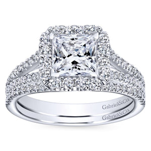 Gabriel Bridal Collection White Gold Halo and Diamond Accent Split Shank Diamond Engagement Ring (0.57 ctw)