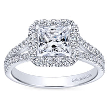 Load image into Gallery viewer, Gabriel Bridal Collection White Gold Halo and Diamond Accent Split Shank Diamond Engagement Ring (0.57 ctw)