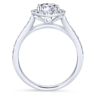 Gabriel Bridal Collection White Gold Round Diamond Halo Engagement Ring with Channel Setting (0.47 ctw)