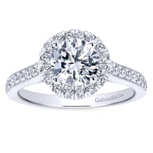 Load image into Gallery viewer, Gabriel Bridal Collection White Gold Round Diamond Halo Engagement Ring with Channel Setting (0.47 ctw)