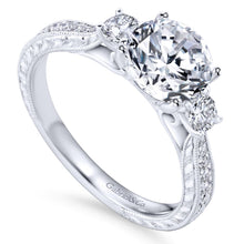 Load image into Gallery viewer, Gabriel Bridal Collection White Gold Diamond Channel and Hand Cut Etching 3 Stones Engagement Ring (0.39 ctw)