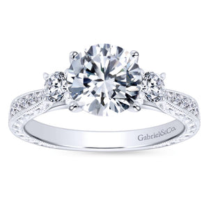 Gabriel Bridal Collection White Gold Diamond Channel and Hand Cut Etching 3 Stones Engagement Ring (0.39 ctw)