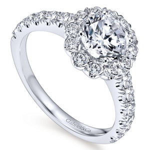 Gabriel Bridal Collection White Gold Round Diamond Halo Engagement Ring with Bold Diamond Accent Shank (0.84 ctw)