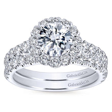 Load image into Gallery viewer, Gabriel Bridal Collection White Gold Round Diamond Halo Engagement Ring with Bold Diamond Accent Shank (0.84 ctw)