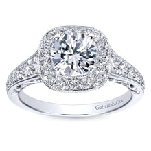 Load image into Gallery viewer, Gabriel Bridal Collection White Gold Diamond Halo and Channel Milgrain Engagement Ring (0.6 ctw)