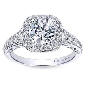 Gabriel Bridal Collection White Gold Diamond Halo and Channel Milgrain Engagement Ring (0.6 ctw)