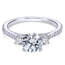 Load image into Gallery viewer, Gabriel Bridal Collection White Gold Diamond 3 Stones Engagement Ring and French Diamond Accent Shank (0.45 ctw)