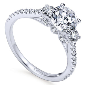 Gabriel Bridal Collection White Gold Diamond 3 Stones Engagement Ring and French Diamond Accent Shank (0.45 ctw)