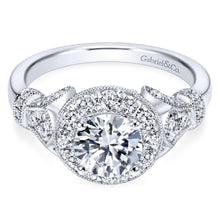 Load image into Gallery viewer, Gabriel Bridal Collection White Gold Diamond Round Halo Filigree Engagement Ring (0.65 ctw)