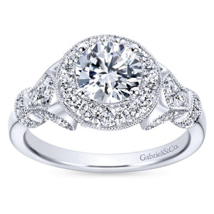 Gabriel Bridal Collection White Gold Diamond Round Halo Filigree Engagement Ring (0.65 ctw)