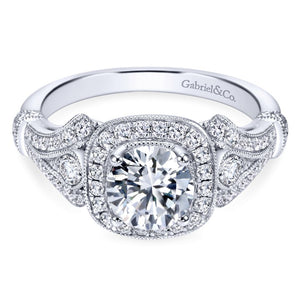 Gabriel Bridal Collection White Gold Diamond Halo and Filigree Setting Engagement Ring (0.42 ctw)
