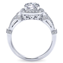 Load image into Gallery viewer, Gabriel Bridal Collection White Gold Diamond Halo and Filigree Setting Engagement Ring (0.42 ctw)