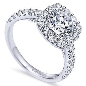 Gabriel Bridal Collection White Gold Diamond Accent Diamond Halo Engagement Ring (0.95 ctw)