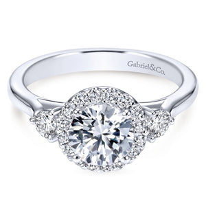 Gabriel Bridal Collection White Gold Diamond Round Diamond Accent Halo Engagement Ring and Side Stone Setting (0.42 ctw)