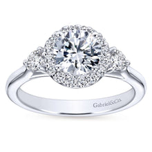 Load image into Gallery viewer, Gabriel Bridal Collection White Gold Diamond Round Diamond Accent Halo Engagement Ring and Side Stone Setting (0.42 ctw)