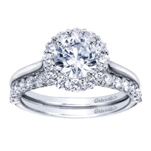 Load image into Gallery viewer, Gabriel Bridal Collection White Gold Bold Diamond Halo Rounded Shank Engagement Ring (0.42 ctw)