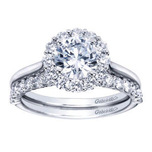 Gabriel Bridal Collection White Gold Bold Diamond Halo Rounded Shank Engagement Ring (0.42 ctw)