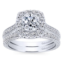 Load image into Gallery viewer, Gabriel Bridal Collection White Gold Diamond Halo Engagement Ring on a Channel and Milgrain Shank (0.75 ctw)