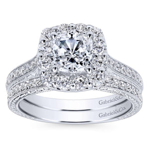 Gabriel Bridal Collection White Gold Diamond Halo Engagement Ring on a Channel and Milgrain Shank (0.75 ctw)